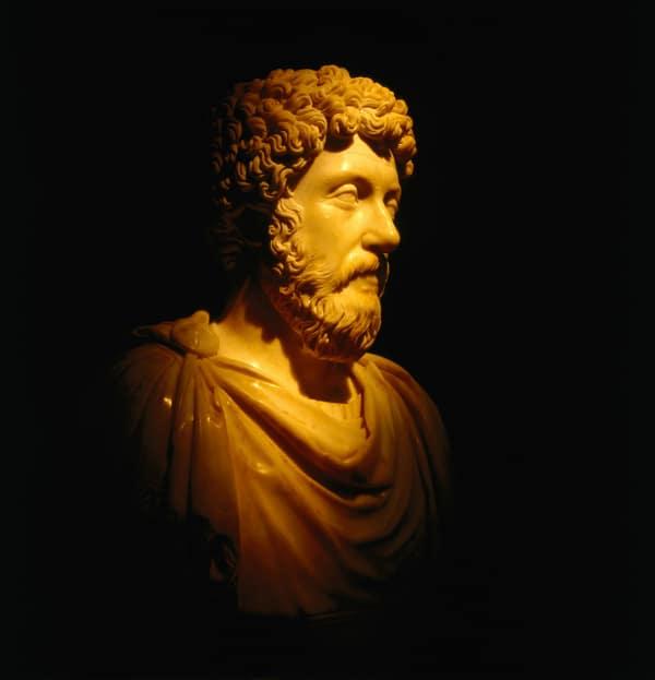 Marcus Aurelius bust in the dark