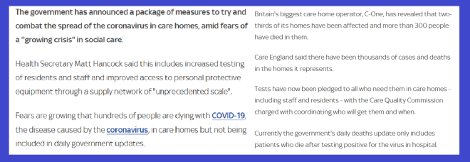 Care home test and ppe both