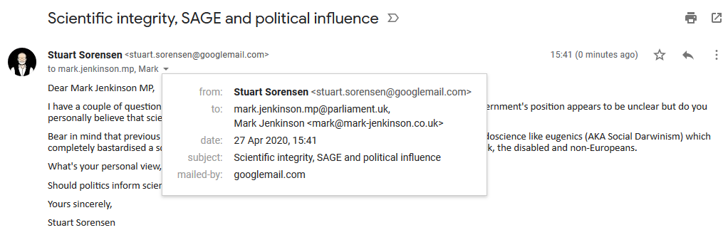 Email to Jenky with date stamp