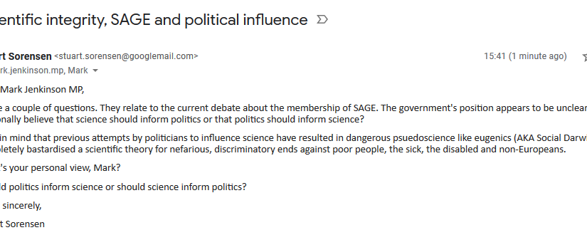 Email to my MP about SAGE's scientificintegrity